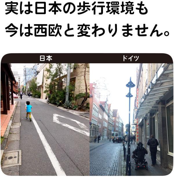 実は日本の歩行環境も 今は西欧と変わりません。