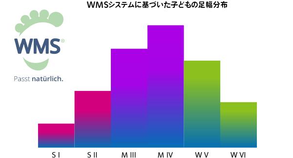 ドイツWMSシステムに基づいた子どもの足幅分布。足幅に合わせ6種の木型がある
